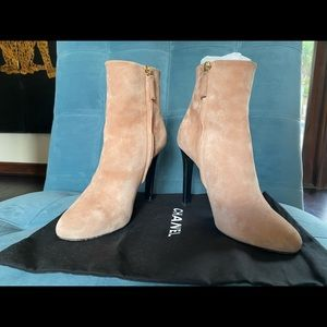 "Pristine CHANEL creamy suede 5"" heel boots, baby!"